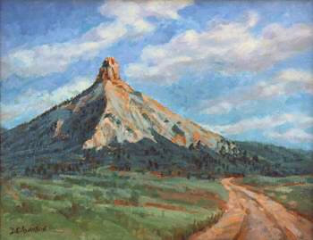 Painting of pyramid shaped mountain