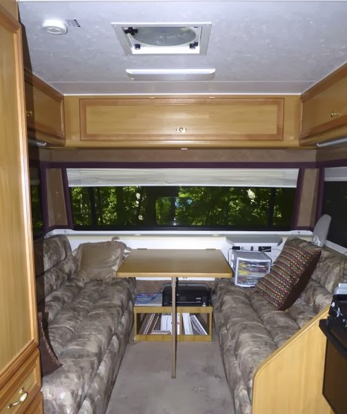 Table and couches in RV