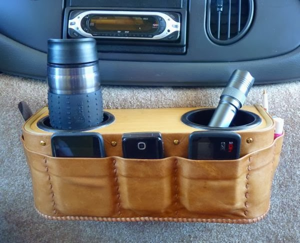Custom leather device holder