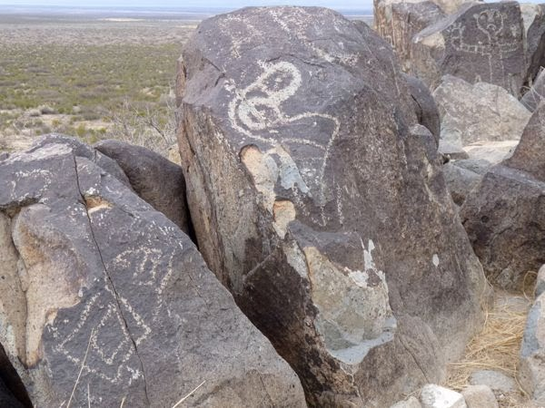 Rock drawings by natives