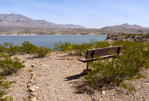 Bench on trail overlooking lake