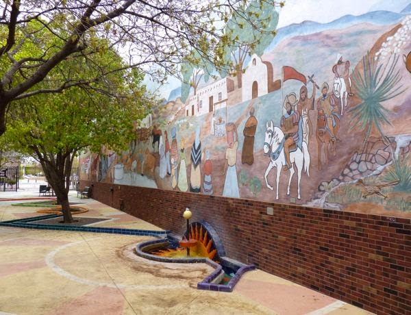 Mural and fountain