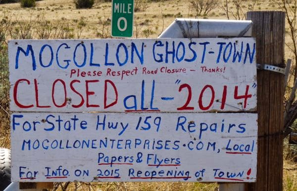 Sign about ghost town closure
