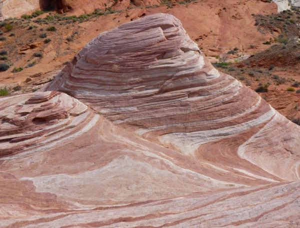 Striated rock formation