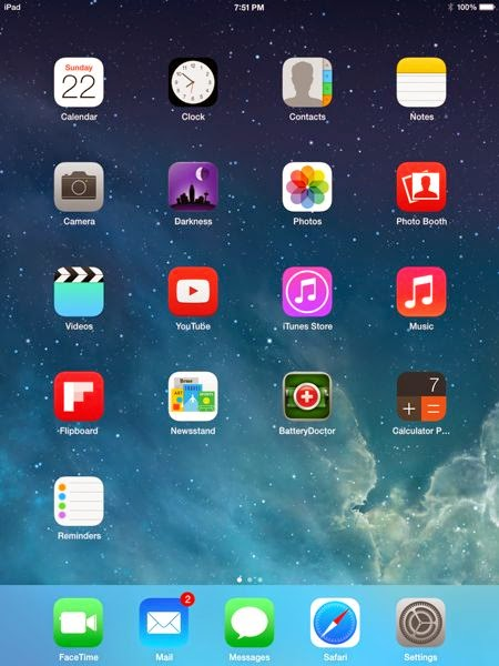 iPad mini screen with app icons