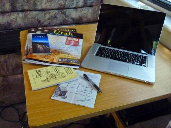 Table with travel planning setup