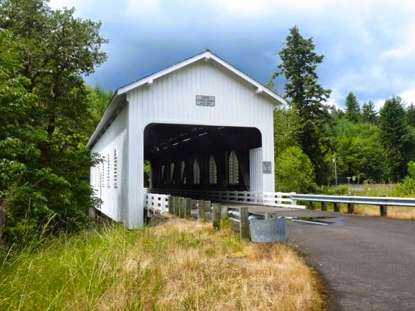 Covered bridge with trees