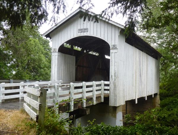 Covered bridge with railing