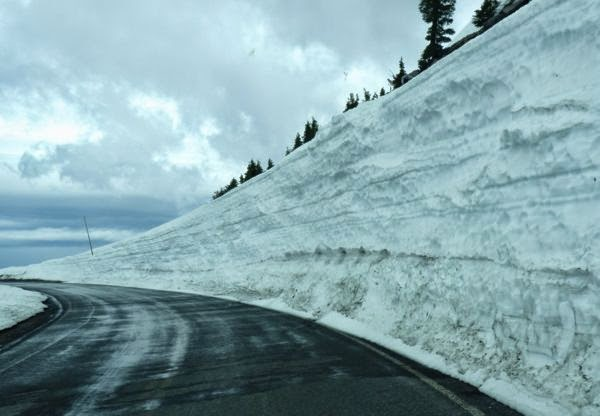 Very tall snowbank next to road