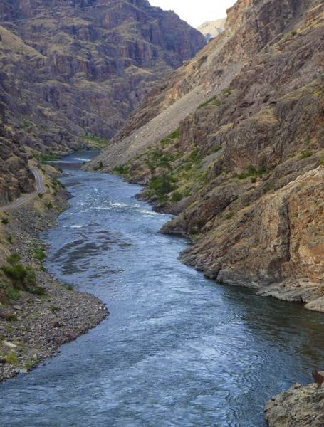 River at bottom of canyon walls