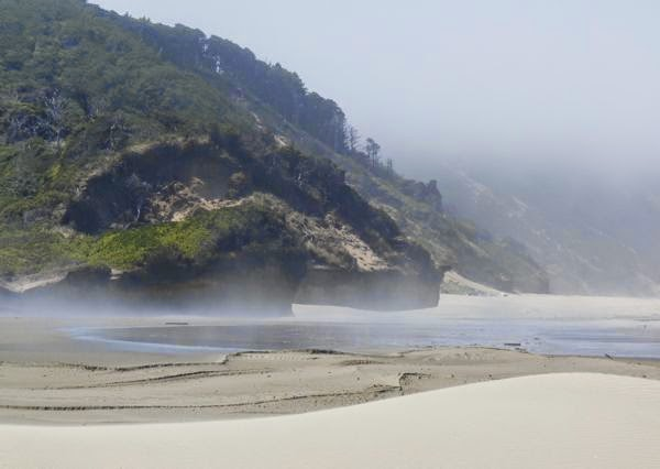 Fog on the beach with headland