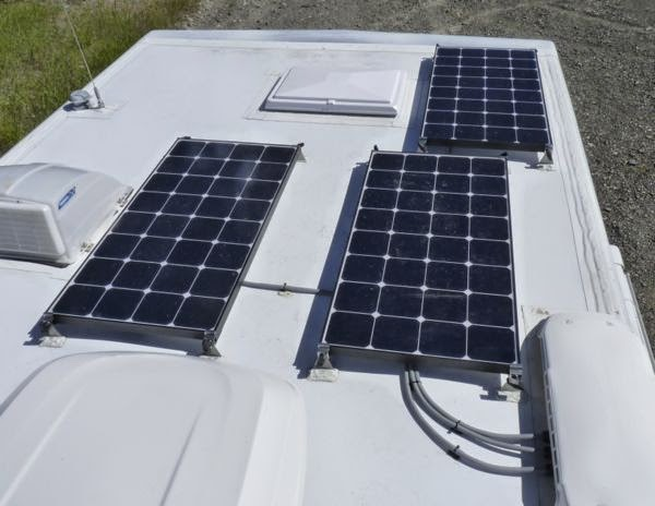 Roof of motorhome with solar panels