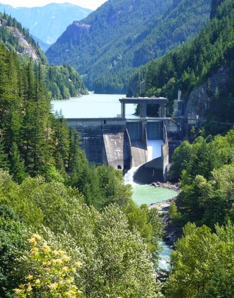 Dam in mountain gorge
