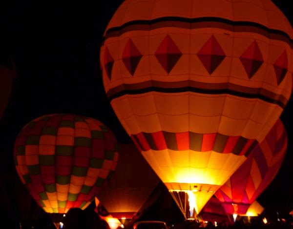 Inflated balloon at night