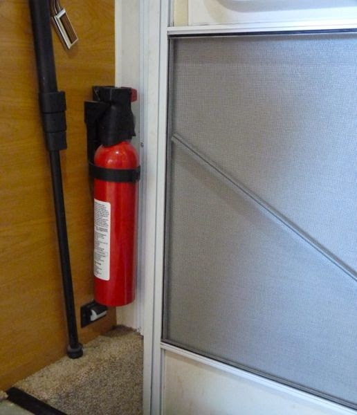 Fire extinguisher next to door