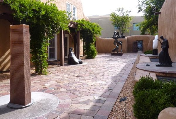 Patio with several sculptures