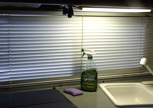 Venetian blinds and spray bottle