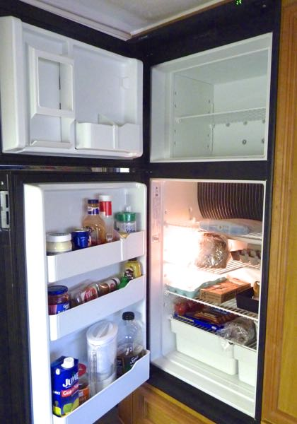 Open doors on refrigerator