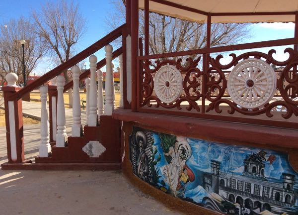Decorative railing and mural on gazebo