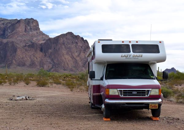 Mountains behind motorhome