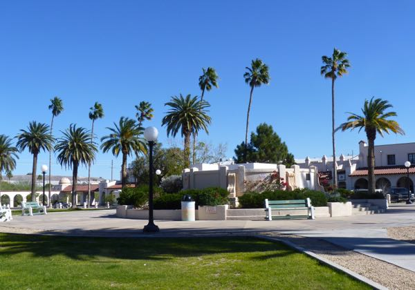 Park with palms, buildings