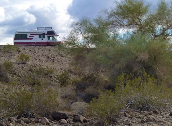 Motorhome on ridge with palo verde tree