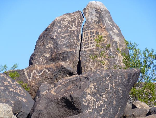 Large rock with drawings