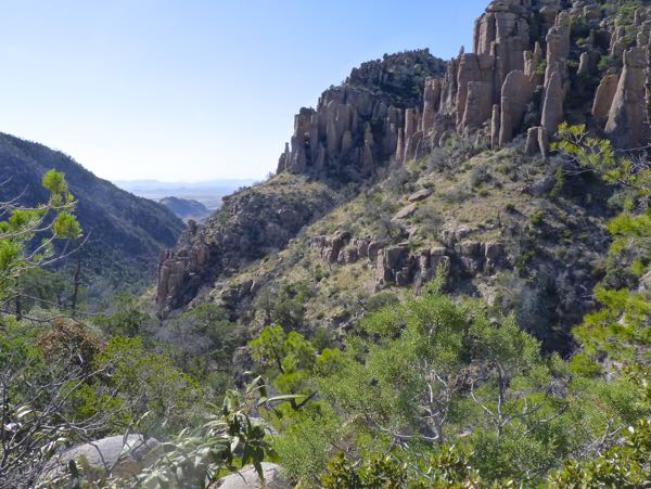 Mountains, trees, rock formations