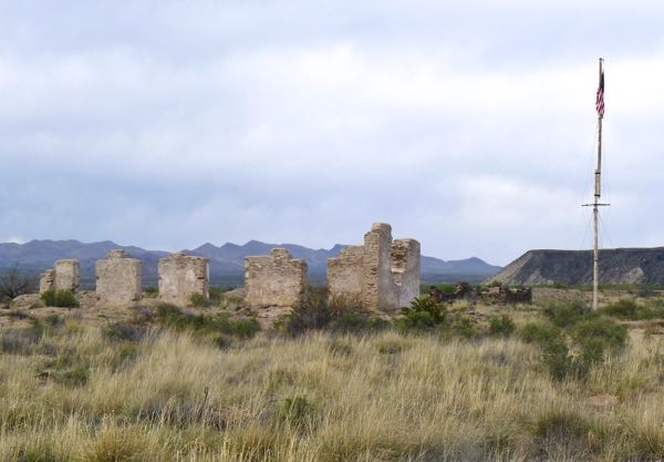 Adobe ruins, flag pole