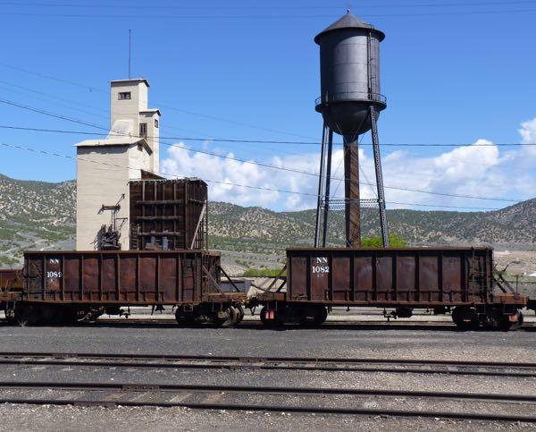 Water tower and ore cars