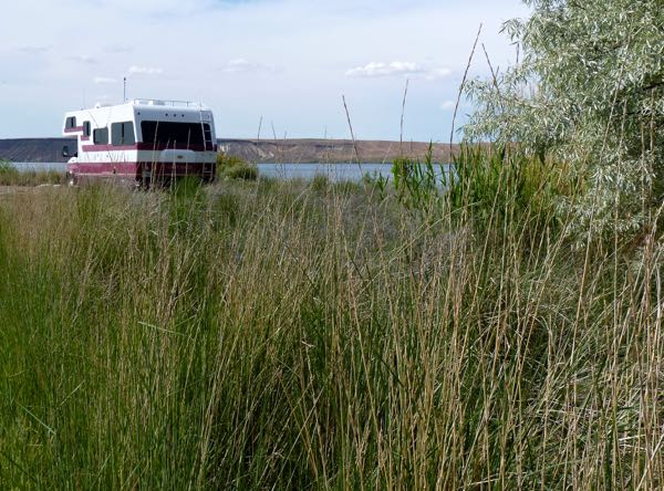 RV, lake, grass, trees