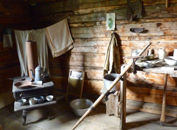 Iron stove, table, tools