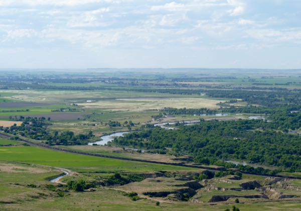 River, fields from atop bluff