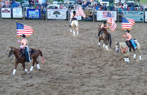Horses, flags