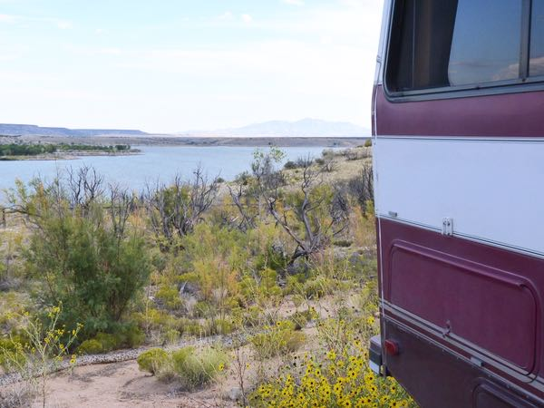 Lake, bushes, flowers, RV