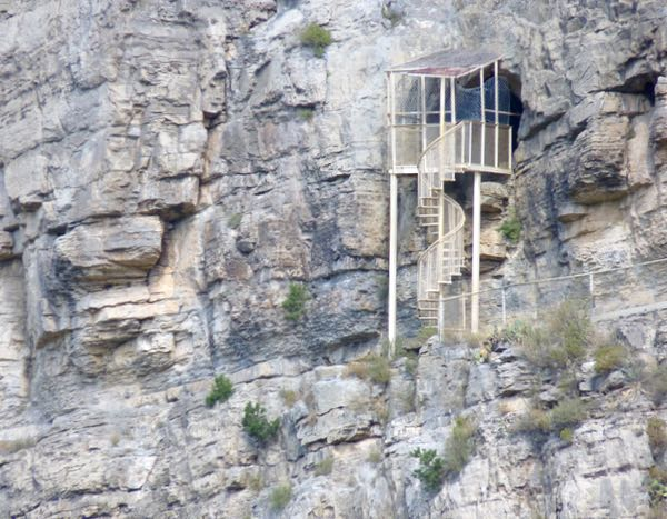 Cliff, spiral staircase