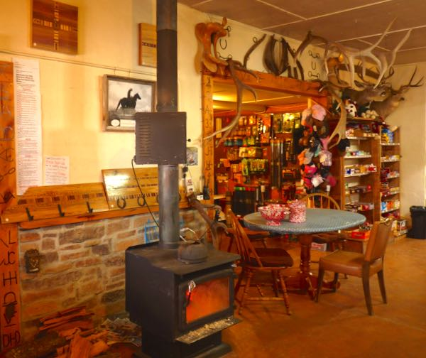 Wood stove, table, goods