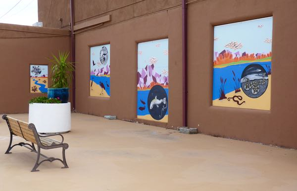 Paintings, bench