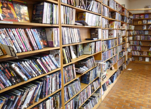 Shelves of videos