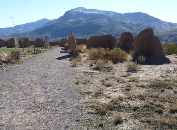 Path, wall portions, mountains
